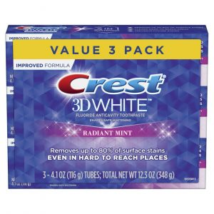 Kem đánh răng Crest 3D White Toothpaste Radiant Mint (3 Count of 4.1 oz Tubes), 12.3 oz Packaging May Vary