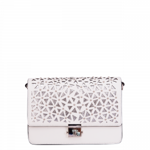 Shiny laser cut shoulder bag